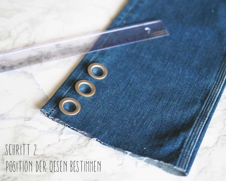 DIY Jeans mit Metallösen