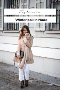 Winterlook in Nude Weiss